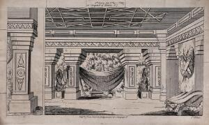 view A large room with decorated columns and statues. Lithograph.