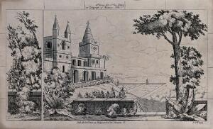 view Mexico: a church and gardens overlooking mountains. Lithograph.