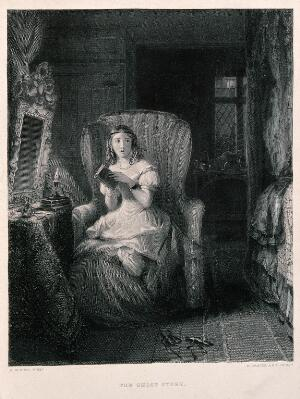 view A young woman is sitting in a chair reading a story which has made her nervous. Engraving by R. Graves after R.W. Buss.