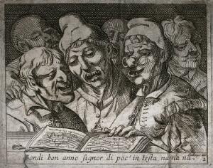 view A choir of six grotesque people singing from a songbook open on a shelf. Etching attributed to J. de Saint-Igny, ca. 1630.