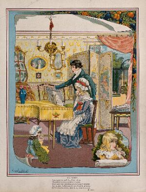 view A young man sings and turns the pages of the music as a young girl plays the piano. Process print after George Cruikshank.