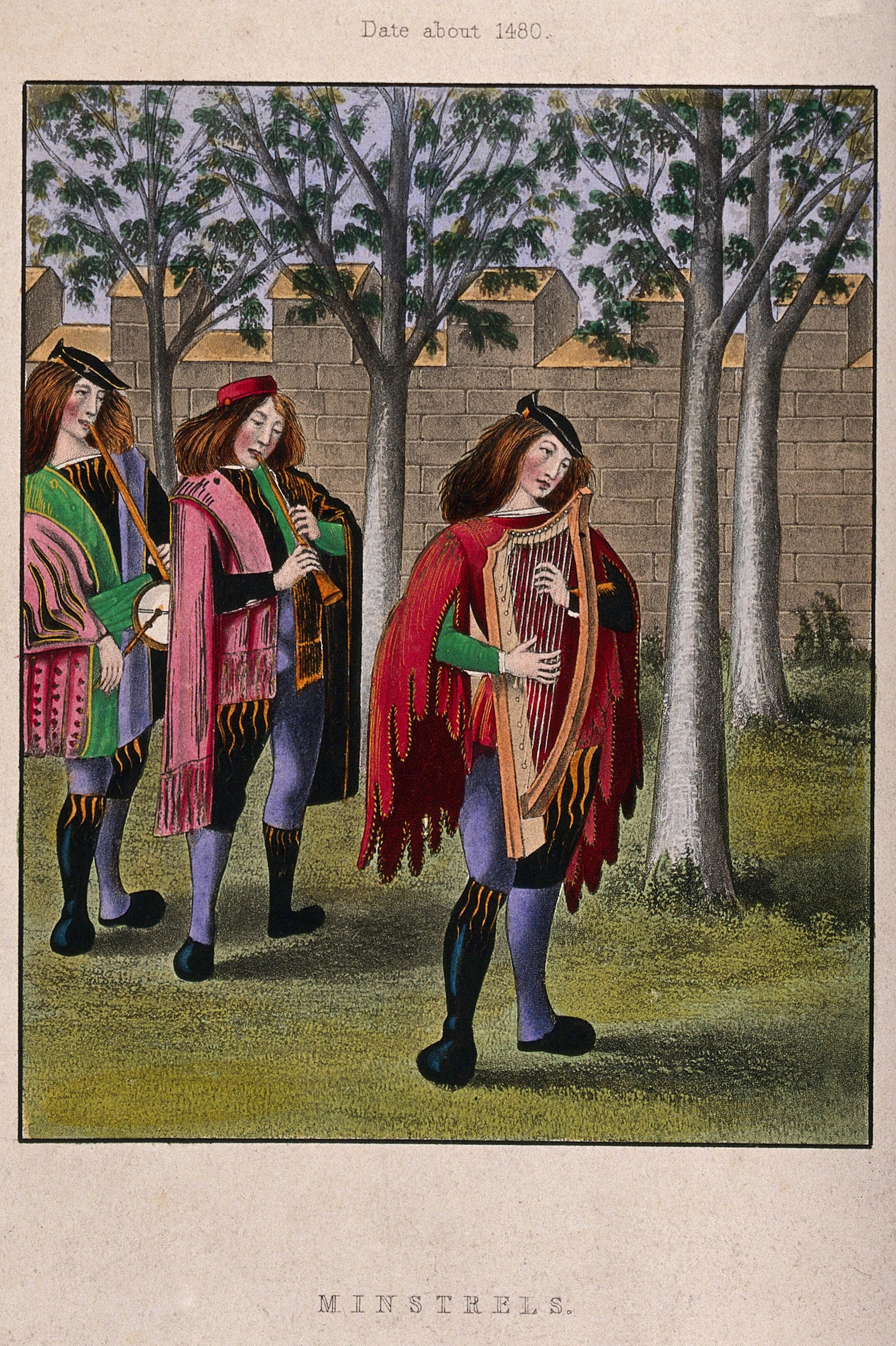 Three Minstrels Are Playing Their Instruments As They Walk Through The Trees Coloured Engraving After H Shaw Wellcome Collection