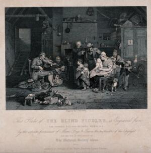 view A blind man plays the fiddle to a large family. Engraving by T. Nicholson after David Wilkie.