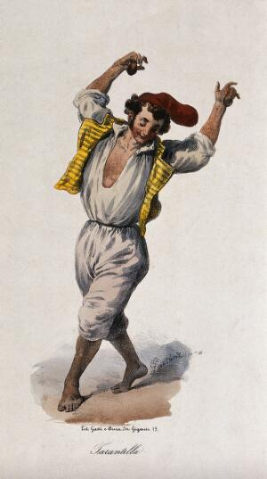 view A young man in costume is dancing. Coloured lithograph by Gatti & Dura.