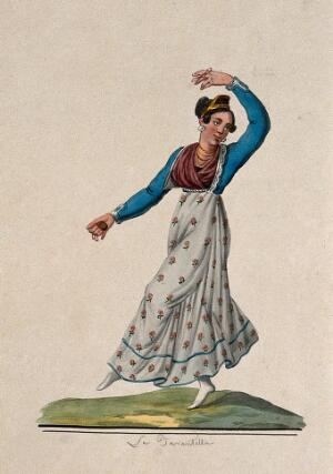 view La Tarantella; woman in costume dancing. Watercolour.