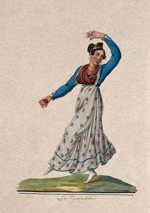 view La Tarantella; woman in costume dancing. Watercolour.