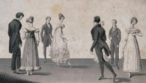 view Four couples dancing the quadrille. Engraving, ca. 1825.