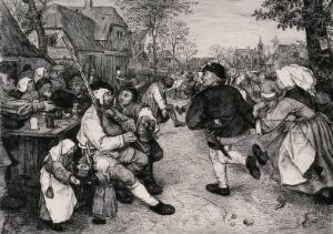 view A man plays the bagpipes as people dance in the village street. Etching after P. Bruegel.