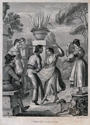 view A couple dance as a woman plays the tambourine and a man plays a lute. Engraving by Luigi Borocci after Cesare Masini.