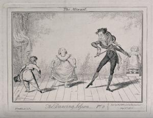 view A dancing class: a girl curtsies as a young man bows to her, the teacher plays the violin and a girl stands in a box. Etching by George Cruikshank.
