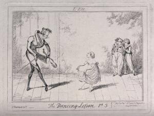 view A dancing lesson: two boys stand laughing in the background as the teacher shows the girl how to hold her dress for the dance. Etching by George Cruikshank.