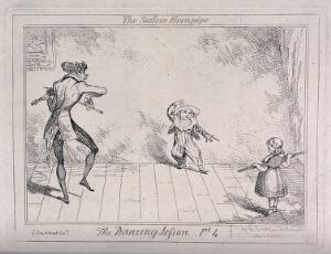 view A dancing lesson: a boy in a sailor suit dances the hornpipe as the teacher plays the violin; the girl is standing with a stretcher across her back. Etching by George Cruikshank.