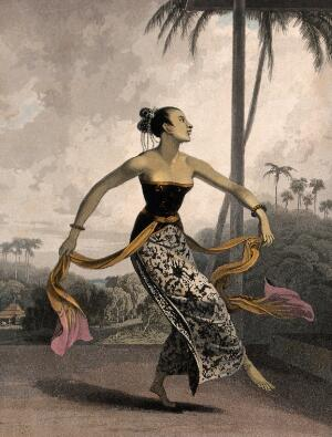 view A Javanese girl dancing with long scarves tied to her waist. Coloured aquatint by W. Daniell, 1817.