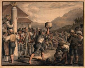 view A man is running with a large stone in his hand, another man picks up a stone to join the competition. Coloured lithograph after Jac. Schwegler.