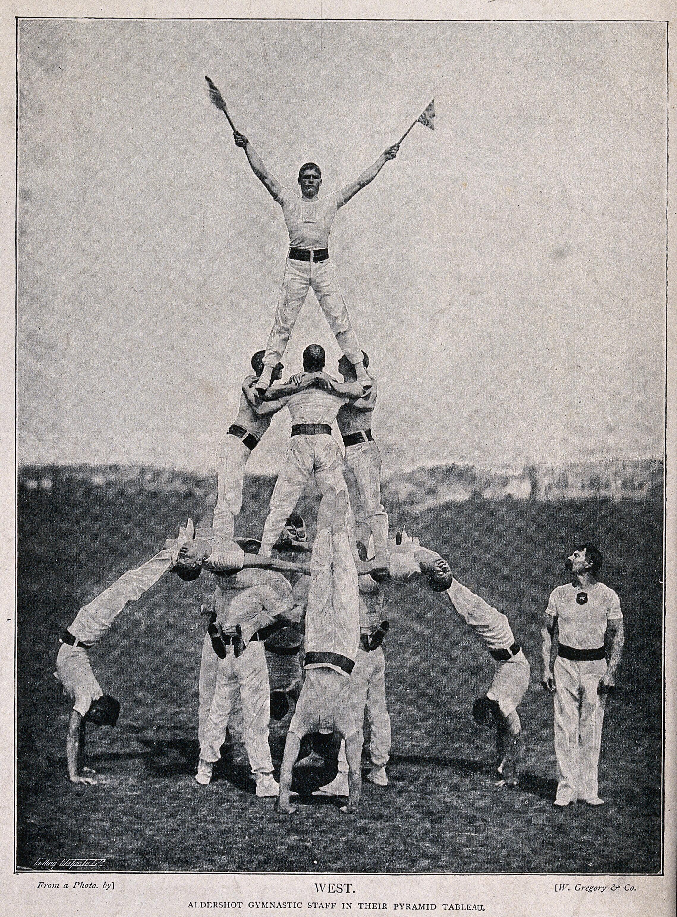 A number of men have formed a pyramid as part of a gymnastic