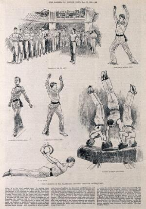 view Men are performing a variety of gymnastic and physical exercises. Photolithograph.
