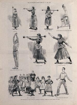 view Men, women and young children are performing a variety of physical exercises. Photolithograph.