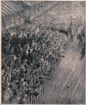 view Crowds of people are cheering on the horses as they race along the track. Wood engraving.