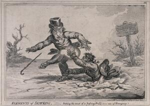 view A man has fallen through ice into a river: he is clutching at the leg of his companion in an attempt to rescue himself. Etching.