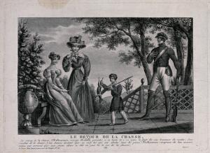 view M. de Mélincourt proudly returns from the hunt with his son, who presents to his mother and his aunt the game he has shot, though they doubt his claim. Engraving.