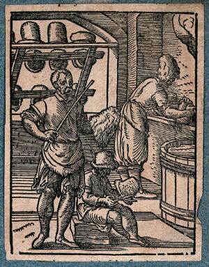 view Men are working with scissors, trimming hats. Woodcut.