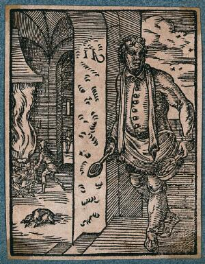 view A man is roasting food on a spit over a fire, another man is at the doorway with a spoon and bowl in his hands. Woodcut.