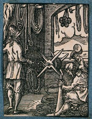 view A man is making and coiling rope. Woodcut.