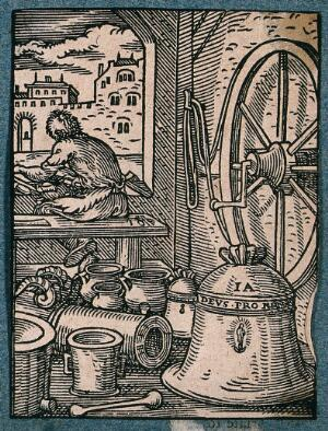 view A man is making bells and large metal objects. Woodcuts.