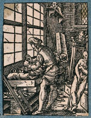 view A man is working at a bench with statues and columns around him. Woodcut.
