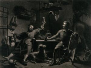 view Two men seated at a table, drinking: one has his glass raised, and the other is joining in the toast. Mezzotint by W. Say after H. Fradelle.