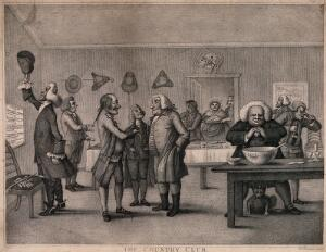 view Members of an English country club gathered together in a room, some are talking, others drinking, and food is being brought in on trays. Stipple engraving after H.W. Bunbury.