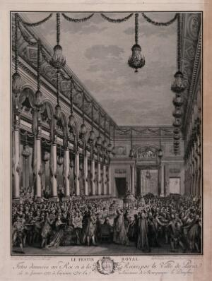 view A royal banquet given by the City of Paris for King Louis XVI and Marie Antoinette to celebrate the birth of their son, the Dauphin. Engraving by J.M. Moreau after P.L. Moreau.