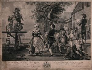 view The wedding of Kloris and Roosje: a couple dance to the music of a fiddler, other people sit at a table eating and drinking. Engraving by P. Tanjé after C. Troost, 1734.