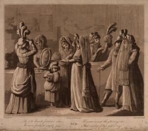 view Young women are trying on hats and looking at fans in a milliner's shop. Aquatint by Miss C. Watson after M. Cosway.