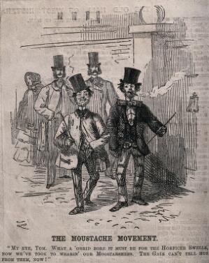view Two working-class men wearing top hats and moustaches, imitating the fashions of the upper classes, rejoice in their new-found equality in fashion. Wood engraving after John Leech, 1854.