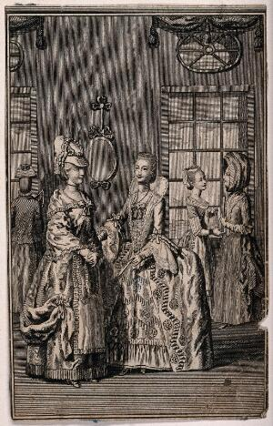 view Women in fashionable dress talk to one another in an interior. Engraving.