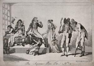 view Men and woman in fashionable dress sit and stand around as young boys polish the men's boots. Etching, 1801.