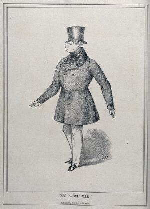 eb396118de4 A large man posing wearing a fitted coat and a top hat. Lithograph.