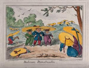 view Young children wearing enormously wide-brimmed hats as they play in the fields. Coloured etching by George Cruikshank.