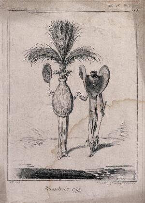 view A man and a woman, both wearing enormous hats. Etching by J. Gillray.