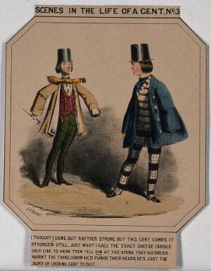 view Two men are wearing the fashionable dress of checked trousers, top hats, cravats and top coats. Coloured lithograph after J.V. Barret.