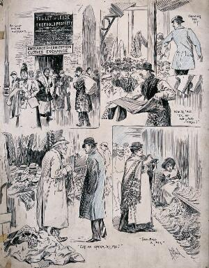 view Men and women are buying and selling clothes, hats and shoes at a market. Process print by A.S. Boyd.