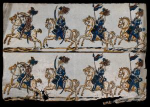 view Three soldiers on horseback: one with a bugle, one with a cutlass, and one with and as a standard. Colour wood block.