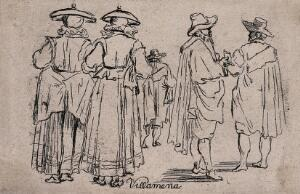 view Men in cloaks with large hats and women in dresses and jackets with flat hats. Etching.