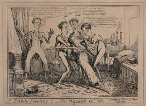 view Dandies at the opera, one of them swooning, overcome with emotion. Etching by I.R. Cruikshank, 1835.