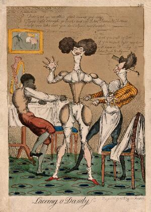 view A man in his underwear is having his waist pulled in by two servants. Coloured etching.