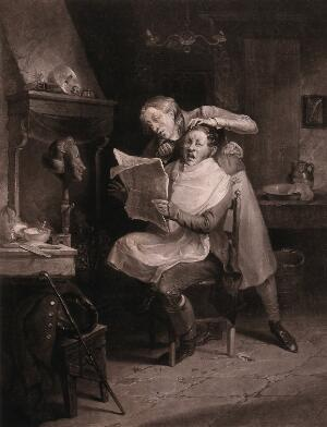 view A barber curling a customer's hair with hot tongs is distracted by an item in the newspaper, consequently burning the man's head. Mezzotint by A.M. Huffam, 1827, after M.W. Sharp.