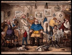view A barber lathering a man's face, other men trying on wigs. Coloured etching by J. Gillray, 1818, after H.W. Bunbury, 1811.