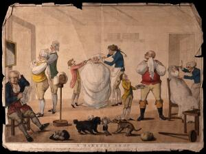 view A man is sitting in a barber's shop having his hair combed and crimped, another man is being shaved, others are trying on wigs and tying their cravats. Coloured etching, 1785, after H. Bunbury.