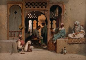 view A man is having his hair cut in a barber's shop, other men are sitting on the ground and walls outside. Chromolithograph by C. Werner.